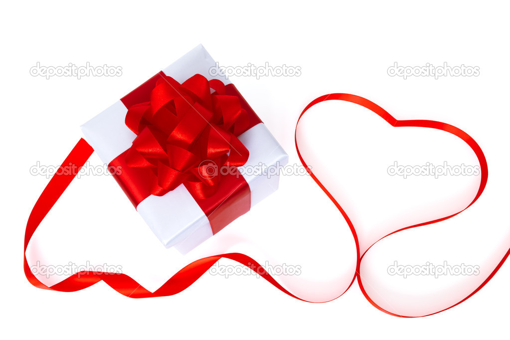 White gift box with red heart  Stock Photo #4963542