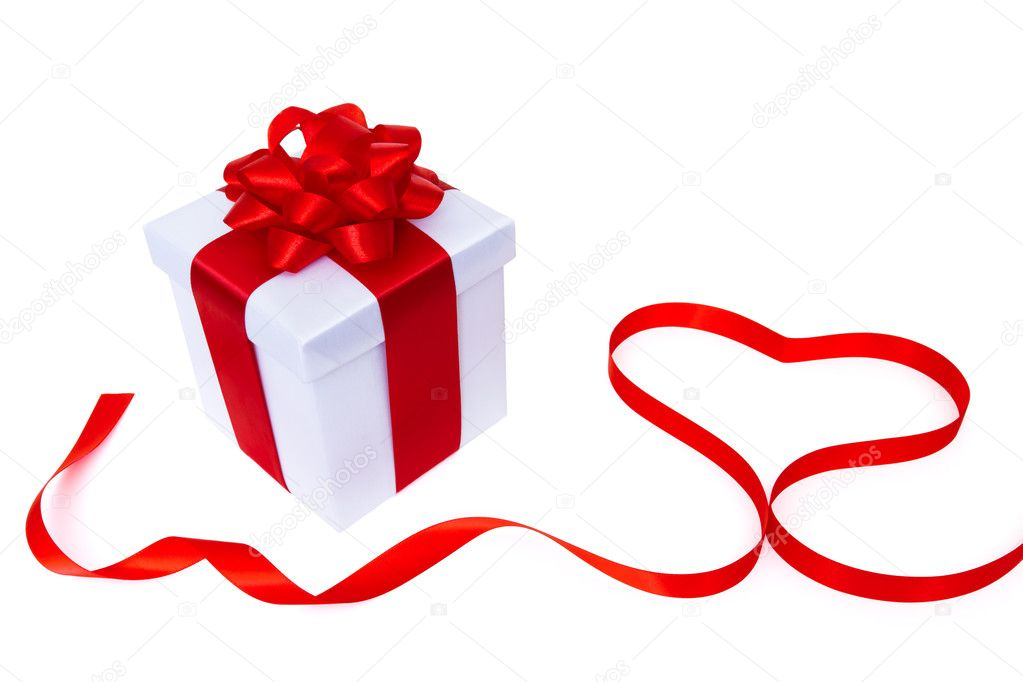 White gift box with red heart — Stock Photo #4963553