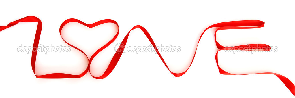 Word love made of red ribbon isolated on white — Stock Photo #4963581