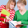 Two young blond women with books - Stock Photo