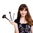 Stock Photo: Portrait of beautiful woman with brushes