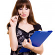 Portrait of beautiful young woman with tablet and pen — Stock Photo