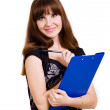 Stock Photo: Portrait of beautiful young woman with tablet and pen