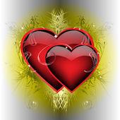 İki ateşli kalp — Stok Vektör