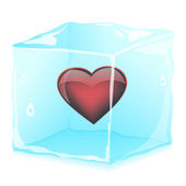 Heart in ice cube, vector illustration, eps10 — Stock Vector