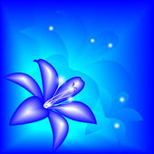 Abstract blue lily — Stock Vector