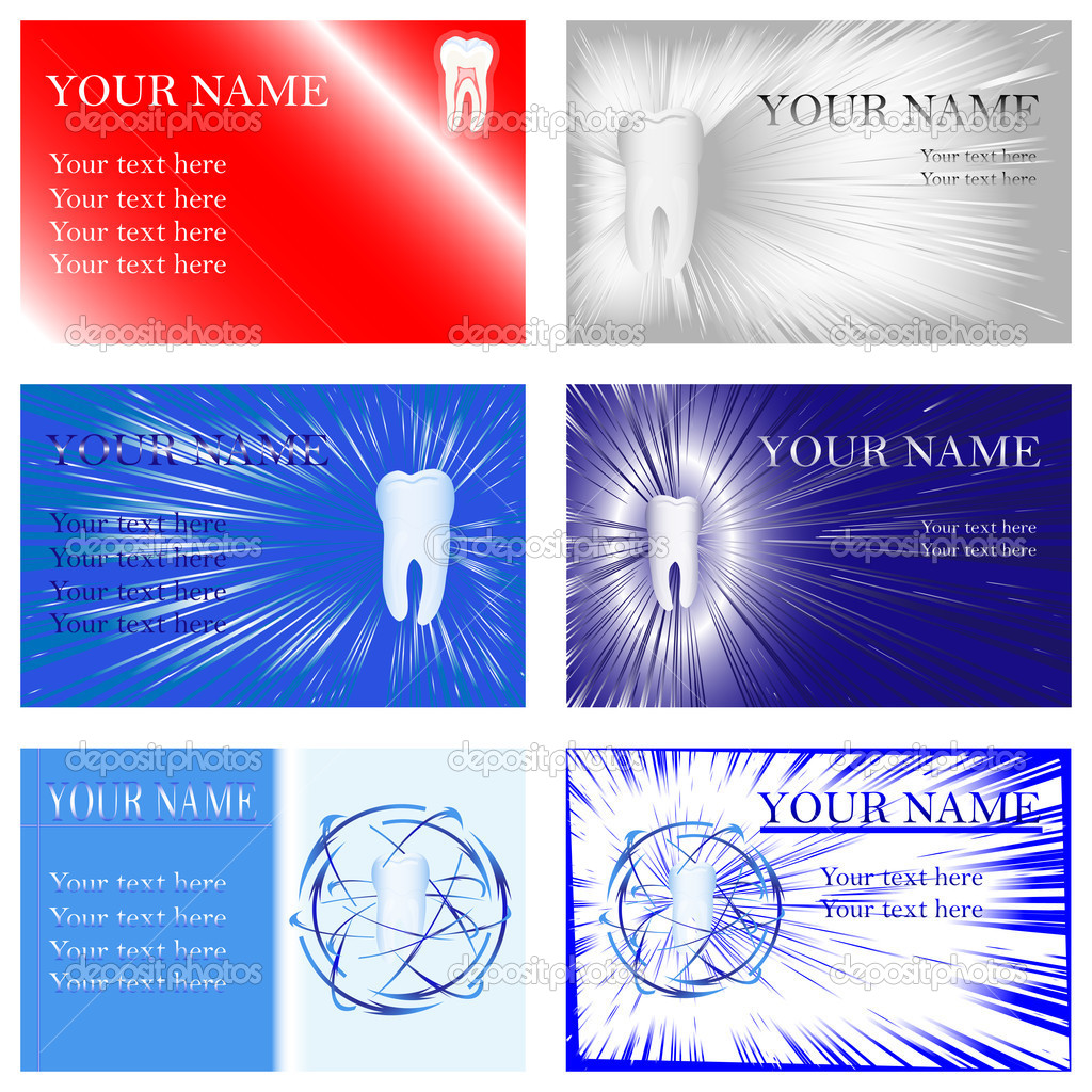 Brightly colored dental business cards, vector illustration, eps10 — Stock Vector #4921489