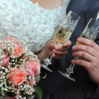 Wedding glasses and champagne — Stock Photo