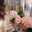 Wedding glasses and champagne — Stock Photo #5087204