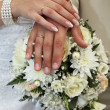Wedding bouquet and hands — Foto Stock