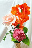 Bouquet on white cloth background — Stock Photo