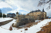 Spring Pidhirtsi Castle panorama view (Ukraine) — Stock Photo