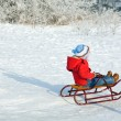 Stock Photo: Boy with sled
