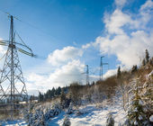Mountain and electricity — Stock Photo