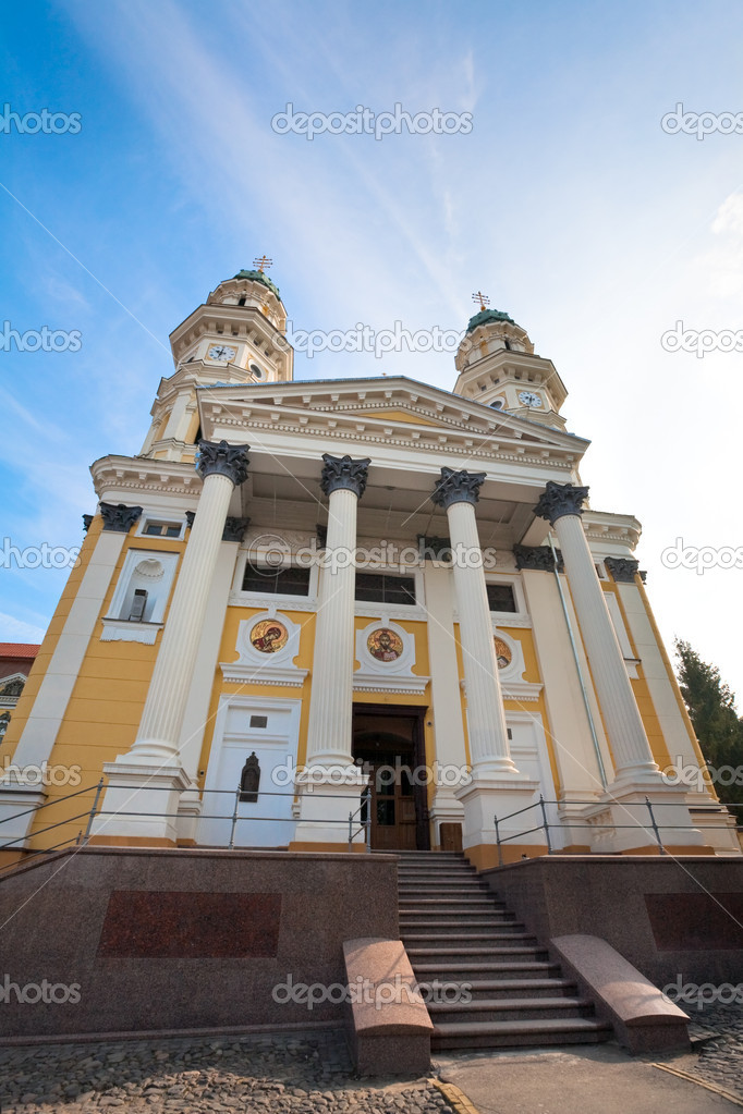 Greek Catholic Cathedral (Ruthenian Catholic Church) in Uzhhorod City (Ukraine). Built in 17th century. — Stock Photo #4538179