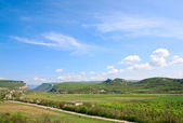 Crimea mountain landscape with valley and village — Stock Photo