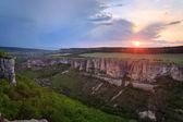 Sunset Bakhchisaray environs view (Ukraine) — Stock Photo