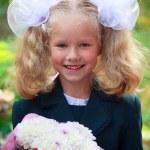 Portrait of nice little schoolgirl — Stock Photo