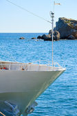 Prow of yacht on sea background — Stock Photo