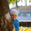 Small girl near autumn maple. — Stock Photo