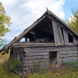 Ruined shed on mountain glade - Stock Photo