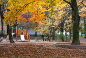 Autumn park and children's playground — Stock Photo