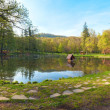 Beautiful spring lake in park. — Stock Photo