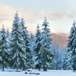 Winter sunset mountain landscape — Stock Photo