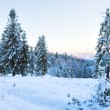 Winter sunset mountain landscape - Stock Photo