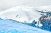 Winter besneeuwde en winderig bergzicht — Stok fotoğraf