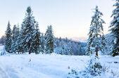 Paysage de montagne coucher de soleil d'hiver — Photo
