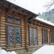 Country wooden house and winter forest - Stock Photo