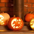 Foto Stock: Carved Pumpkins