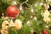 Red round Chirstmas decorations — Stock Photo