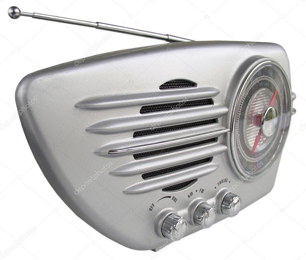 Sleek retro radio set in chrome finish — Stock Photo #4417899