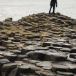 Lone figure on Giant's Causeway — Stock Photo
