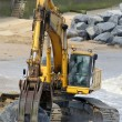 Building beach defences — Foto Stock