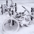 Stock Photo: Bikes in snow