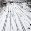 Foto de Stock  : Snowfall on railway