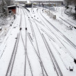 Foto Stock: Snowfall on railway