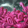 Pink and black graffiti background — Stock Photo