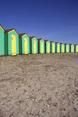 Beach huts (room for text) — Stock Photo