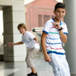 Stock Photo: Boys on skateboard.