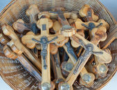 Sale of wooden crosses. — Stock Photo