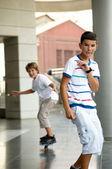 Boys on a skateboard. — Stock Photo