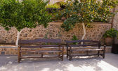 Wooden benches . — Stock Photo