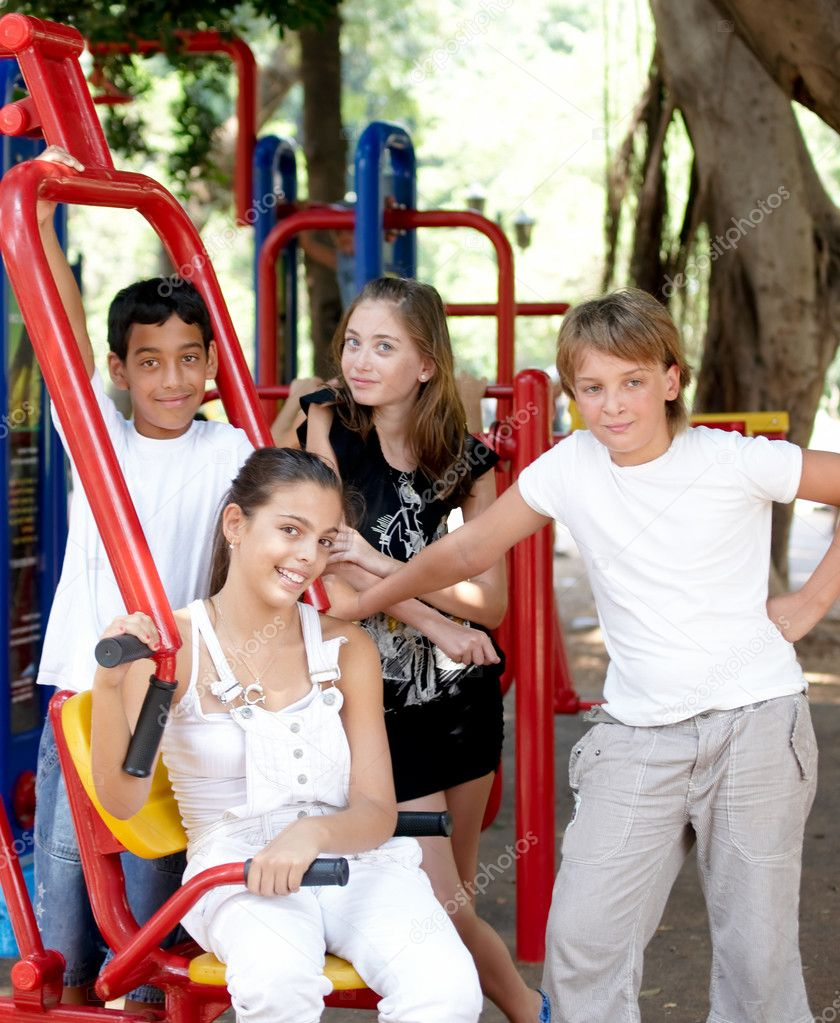 Children on playground in summer day . — Stock Photo #4545765
