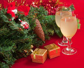 Christmas tree and glasses of wine . — Stock Photo
