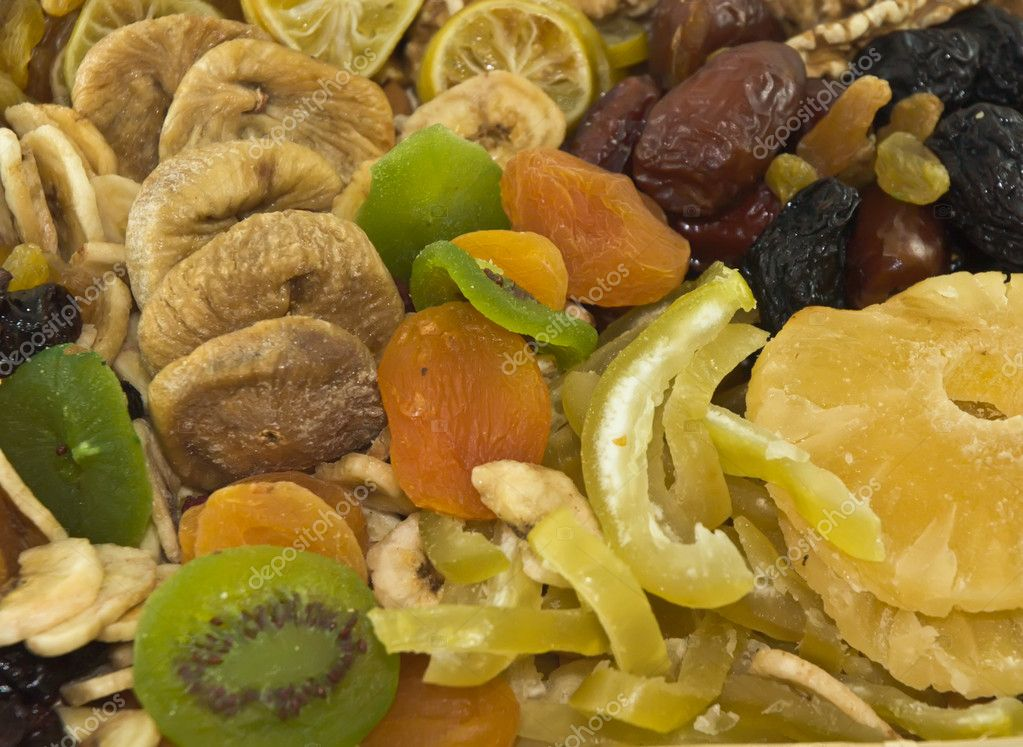 The traditional set of dried fruit for the Jewish holiday Tubishvat. — Stock Photo #4851880