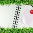 Blank page of note book on grass — Stock Photo